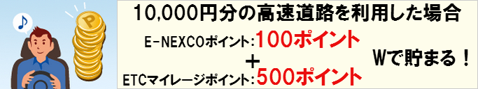 ETCマイレージとE-NEXCOポイント