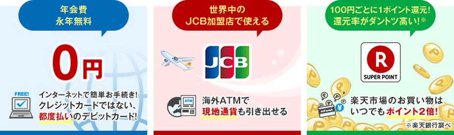 楽天銀行デビットカード(JCB)の特徴