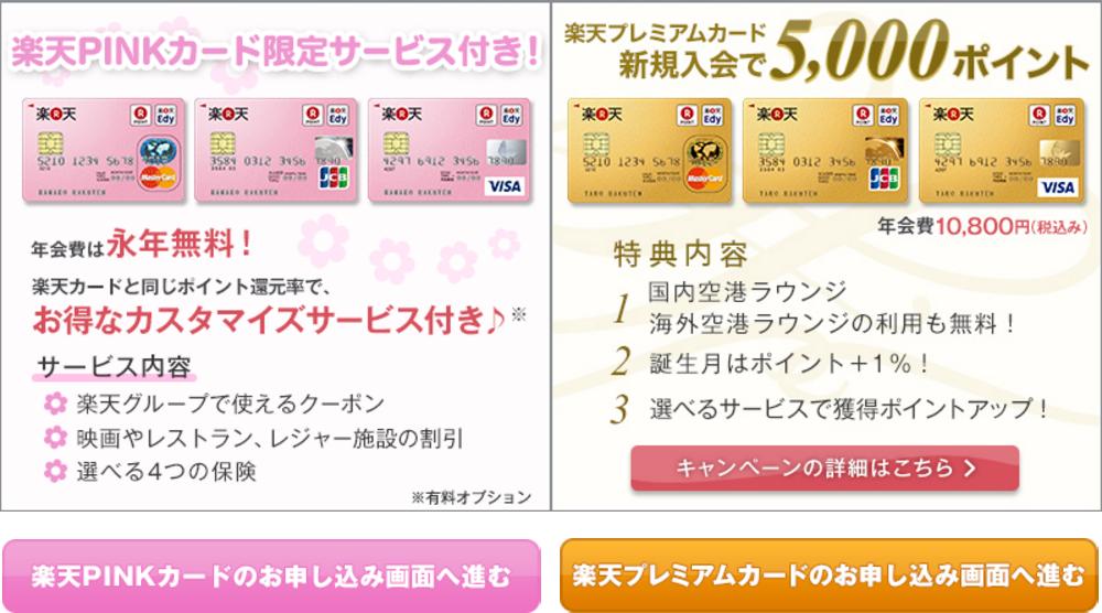 楽天PINKカード入会画面