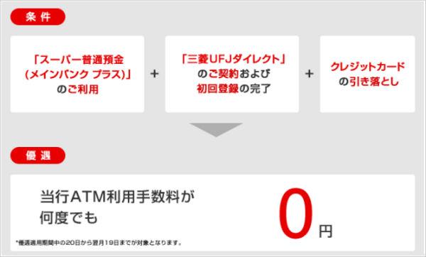 三菱UFJ銀行のATM利用手数料が無料!